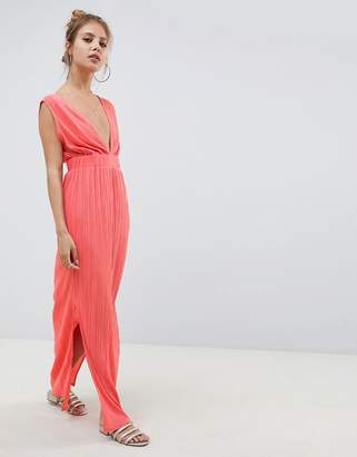Asos DESIGN deep plunge plisse maxi dress