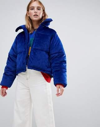 Brave Soul ramblin padded coat in velvet