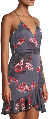 Lovers And Friends Gigi Halter Floral-Print Mini Wrap Dress