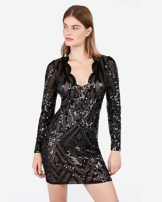 Express Scalloped Sequin Long Sleeve Bodycon Dress