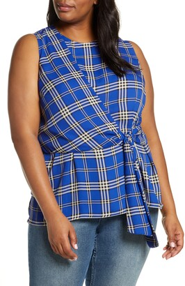 Vince Camuto Highland Plaid Asymmetrical Sleeveless Top