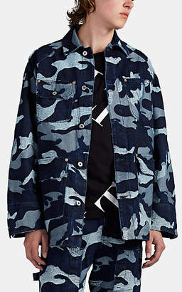 Valentino Men's Camouflage Jacquard Denim Chore Jacket - Blue