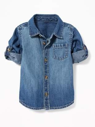 Old Navy Roll-Sleeve Denim Pocket Shirt for Baby