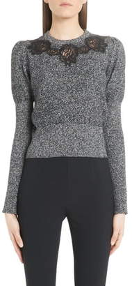 Dolce & Gabbana Lace Detail Cashmere Blend Sweater