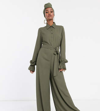 Verona long sleeve jumpsuit with frill sleeves in khaki