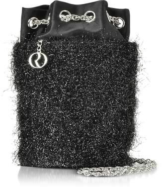 Rodo Black Lurex Bucket Bag w/Chain Strap