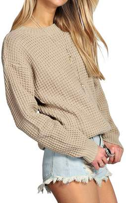 Blush Avenue Womens Ladies Oversized Baggy Long Thick Knitted Plain Chunky Top Sweater Jumper S-XL