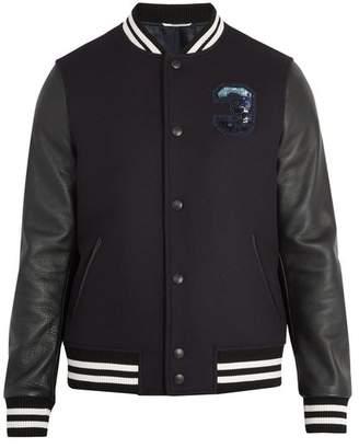 Valentino - Logo Embellished Wool And Leather Varsity Jacket - Mens - Navy