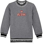 "Dolce & Gabbana Kids' ""Queen"" French Terry Sweatshirt - Gray"