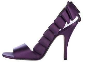 Salvatore Ferragamo Satin Pleated Sandals