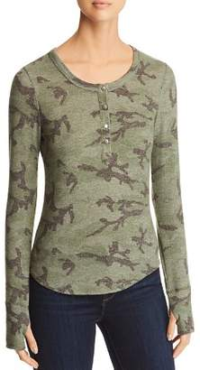 Red Haute Camo Print Henley Top