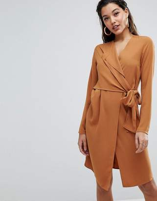 Parallel Lines Long Sleeve Wrap Dress