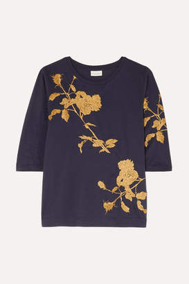 Dries Van Noten Hefiza Metallic Floral-embroidered Cotton-jersey T-shirt - Purple