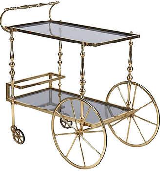 One Kings Lane Vintage Midcentury Spanish Brass Bar Cart - Negrel Antiques