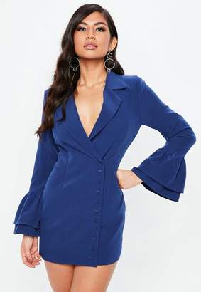 Missguided Blue Frill Sleeve Blazer Dress