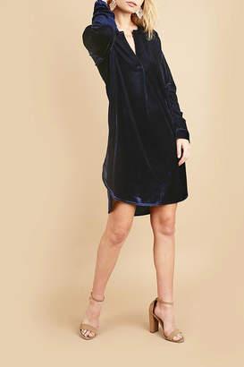 Umgee USA Blue Velvet Shirtdress
