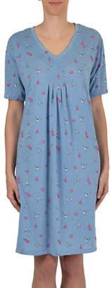 CLAUDEL Short Sleeve Printed Nightgown