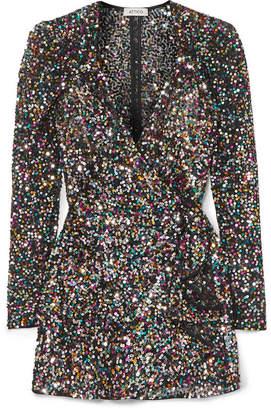 ATTICO Sequined Mesh Mini Wrap Dress - Black