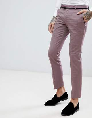 Noose & Monkey Super Skinny Tuxedo Suit Trousers With Geometric Jacquard