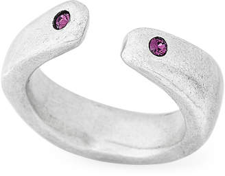Uno de 50 Silver-Tone Zen Dual Purple Accent Ring Size 7.5