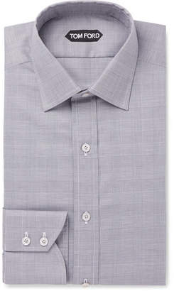 Grey Slim-Fit Prince Of Wales Checked Cotton Shirt