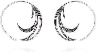 Lee Renee Duck Feather Hoop Earrings Silver