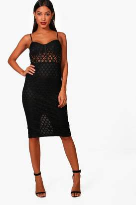 boohoo Structured Lace Midi Dress