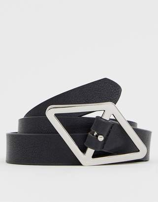 Asos Design DESIGN faux leather skinny belt in black with diamond buckle