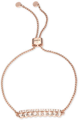 DKNY Rose Gold-Tone Crystal Slider Bracelet