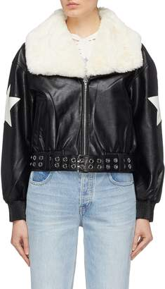 Jinnnn Detachable collar belted star patch faux leather jacket