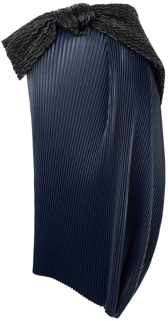 J.W.Anderson Navy Pleather Accordion Tulip Skirt With Belt