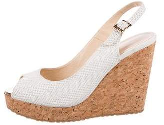 Jimmy Choo Woven Leather Wedge Sandals