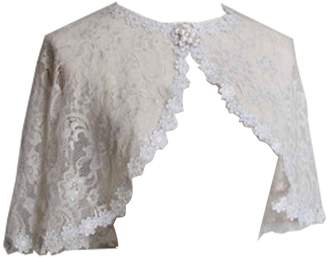 WDING Lace Bolero for Evening Dresses Formal Women Banquet Jackets Wraps Capes White