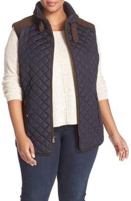 Gallery Quilted Vest with Faux Suede Trim