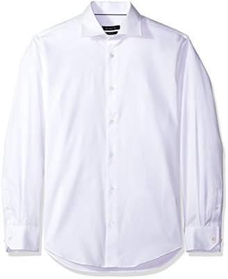 Bugatchi Men's Shaped Fit Tonal Jacquard Point Collar Dress Shirt