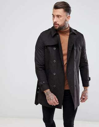 Asos DESIGN shower resistant double breasted trench in black