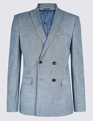 Marks and Spencer Blue Modern Slim Fit Double Breasted Jacket