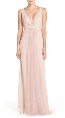 Women's Monique Lhuillier Bridesmaids Deep V-Neck Chiffon & Tulle Gown $173.98 thestylecure.com