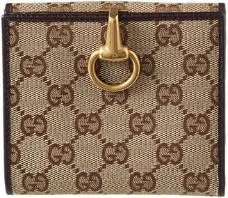 Gucci Brown Gg Supreme Canvas & Leather Bifold Wallet