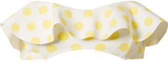 Lisa Marie Fernandez Natalie Off-the-shoulder Polka-dot Bonded Bandeau Bikini Top