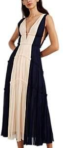 J. Mendel Women's Colorblocked Silk Plissé Cocktail Gown - Navy, Cream