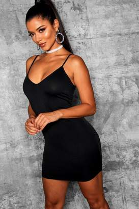 boohoo Plunge Neck Fitted Bodycon Dress