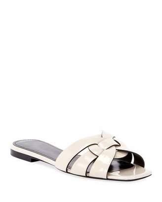 Saint Laurent Nu Pieds Shiny Flat Sandals