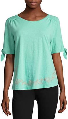 ST. JOHN'S BAY Short Sleeve Round Neck Gingham T-Shirt-Womens