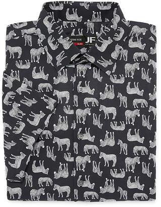 Jf J.Ferrar Stretch Short Sleeve Broadcloth Animal Dress Shirt - Slim