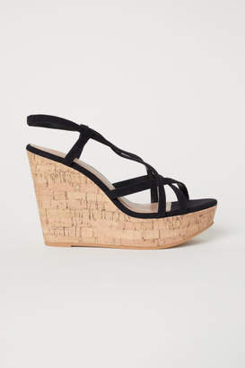 H&M Wedge-heel Sandals - Black