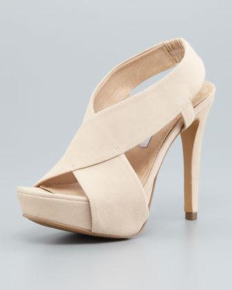 Diane von Furstenberg Zia II Crisscross Sandal, Nude