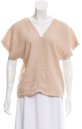 Black Crane Linen Short Sleeve Top w/ Tags