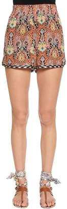 Etro Paisley Printed Silk Crepe Shorts