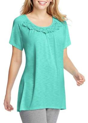 Just My Size Women's Plus-Size Slub Crochet Trim Tunic